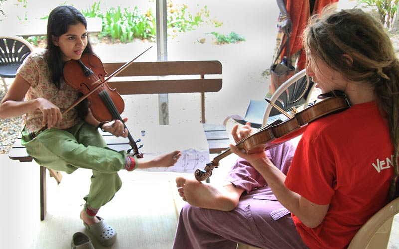 violins at music workshop
